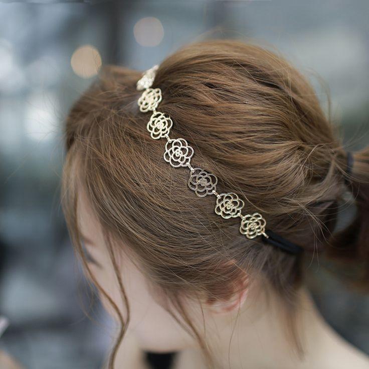 Korean Hollow Hair Band Cute Women Elastic Flower Headband Girls Hair Accessories For Women Headbands accesorios para el pelo