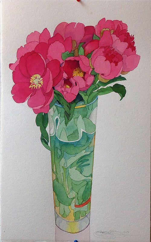 Gary Bukovnik - Galerie Thomas Reynolds - San Francisco - Rose Pivoine - 23,5 cm x 14,5 cm