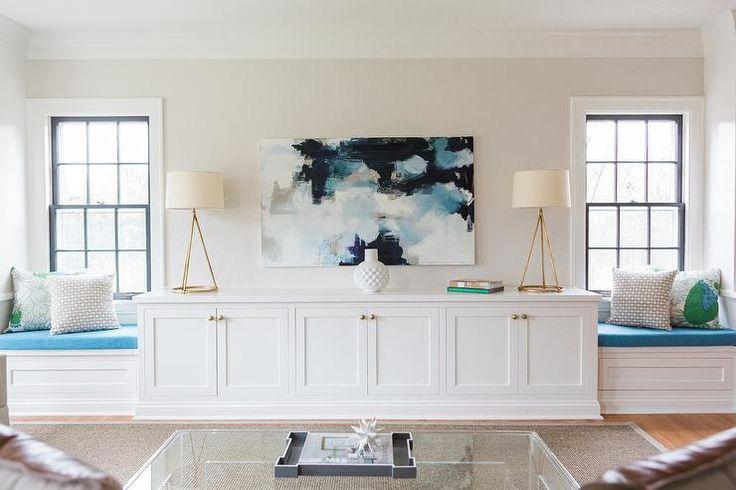 Navy Blue and Aqua Abstract Art