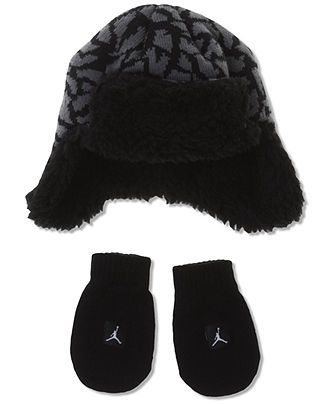 Nike Jordan Kids Set, Toddler and Baby Hat and Mitten Set - Kids Baby Boy (0-24 months) - Macy's....wish i saw this when my baby was lil....so cute