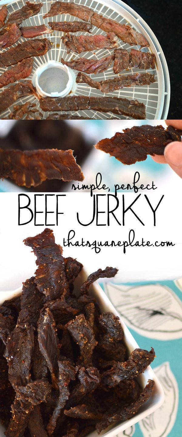 My new favorite beef jerky recipe! Sliced top round marinated in with a sweet and spicy marinade that is SO addicting. The jerky is a perfect snack for a road trip or camping trip. From thatsquareplate.com