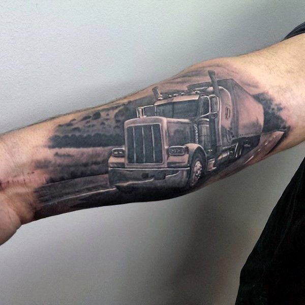 Semi Truck Tattoo Designs 60 truck tattoos for men - vintage and big ...