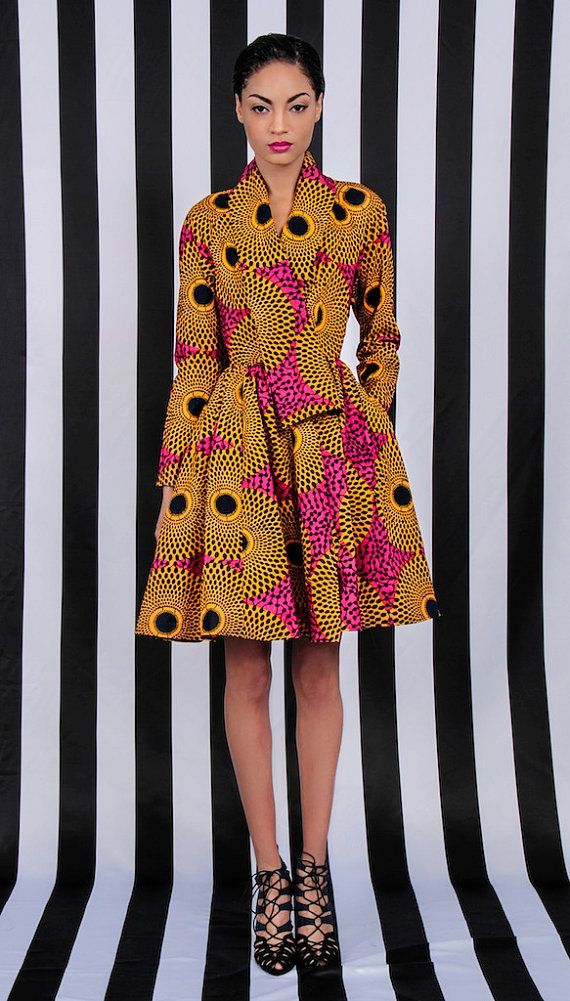 NEW The Gugu Wrap Coat Dress by DemestiksNewYork ~African Prints, African women dresses, African fashion styles, African clothing, Nigerian style, Ghanaian fashion ~DKK