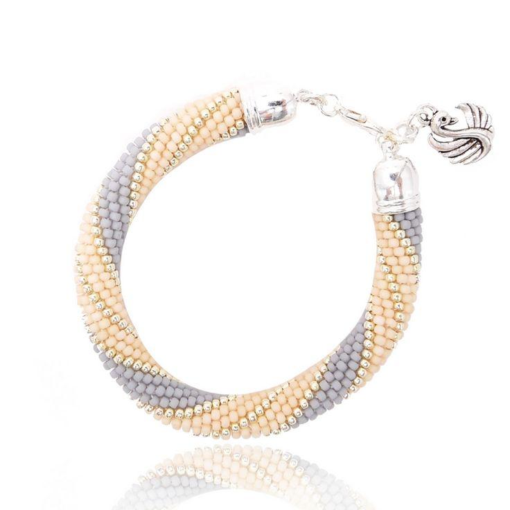 "Bracelet ""Swan"" Handmade bracelet made of Toho Beads Bead Crochet Technique. #beading #beadwork #beadcrochet #jewellery #jewelry #handmade"