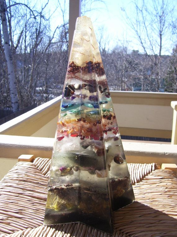 The PERFECT orgone pyramid. 5 elements + chakras. Loaded with a tesla coil and crystals. By Casondra Starseed on etsy.