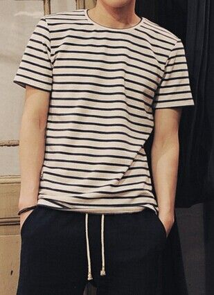 Simple Style Round Neck Slimming Classic Stripes Print Short Sleeves Cotton  T-Shirt For Men