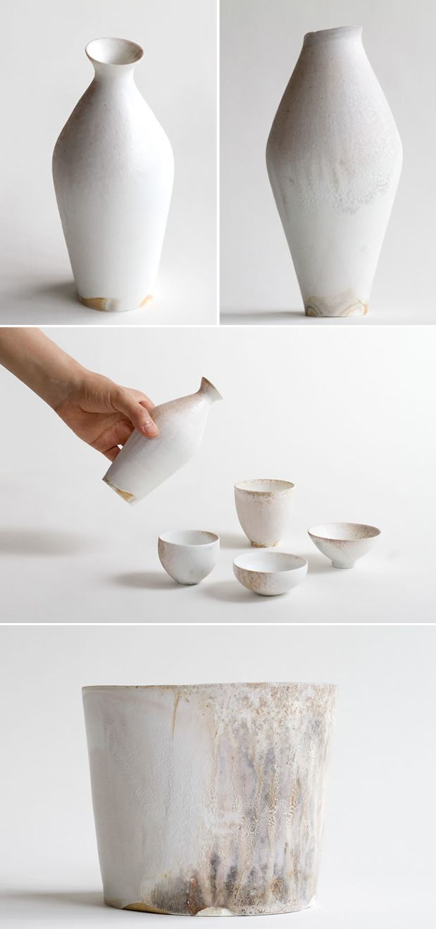 Delicate porcelain vessels made by Taro Tabuchi in his hand built wood fired kiln