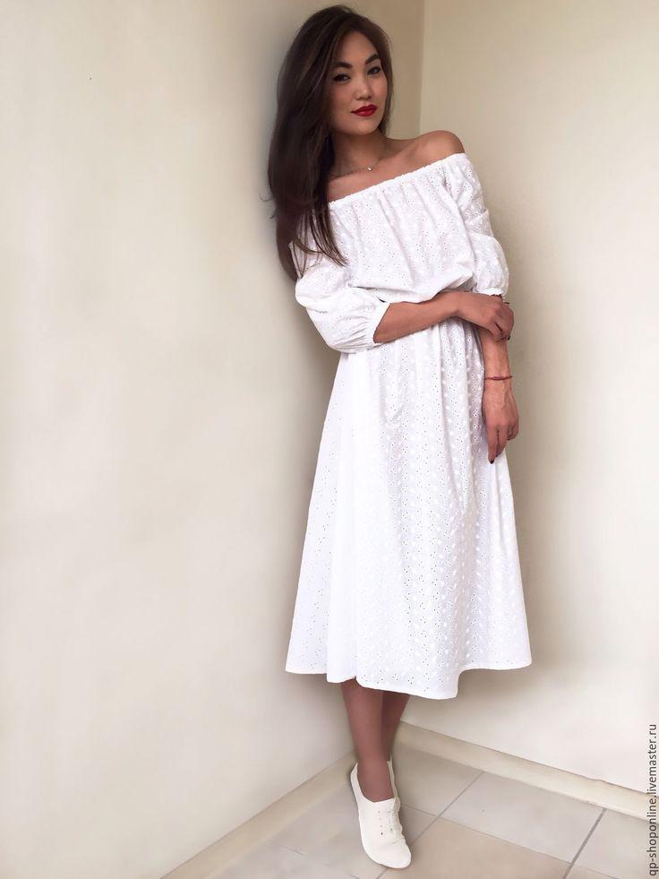 """Купить Воздушное платье из шитья """"Брижит"""" - белый, однотонный, Коктейльное платье, спущенное плечо"""