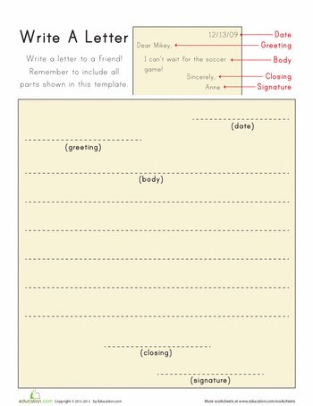 Write A Letter Worksheets School And Language Arts
