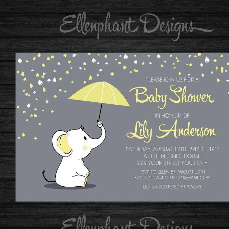 Yellow elephant Baby Shower Invitation, umbrella, rain, baby sprinkle, unisex, baby elephant, gray, custom invite, digital file, you print - http://www.baby-showerinvitations.com/yellow-elephant-baby-shower-invitation-umbrella-rain-baby-sprinkle-unisex-baby-elephant-gray-custom-invite-digital-file-you-print.html