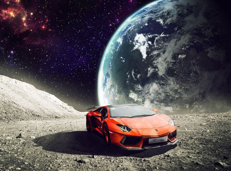"""It is my personal project that I wanted to plan how to exercise for compositing and post-production. The """"moon"""" is nothing more than a desert that make it through the filters, the """"lunar"""". The concept is very simple, the lamborghini, a fantastic car, it is so powerful that even on the moon"""