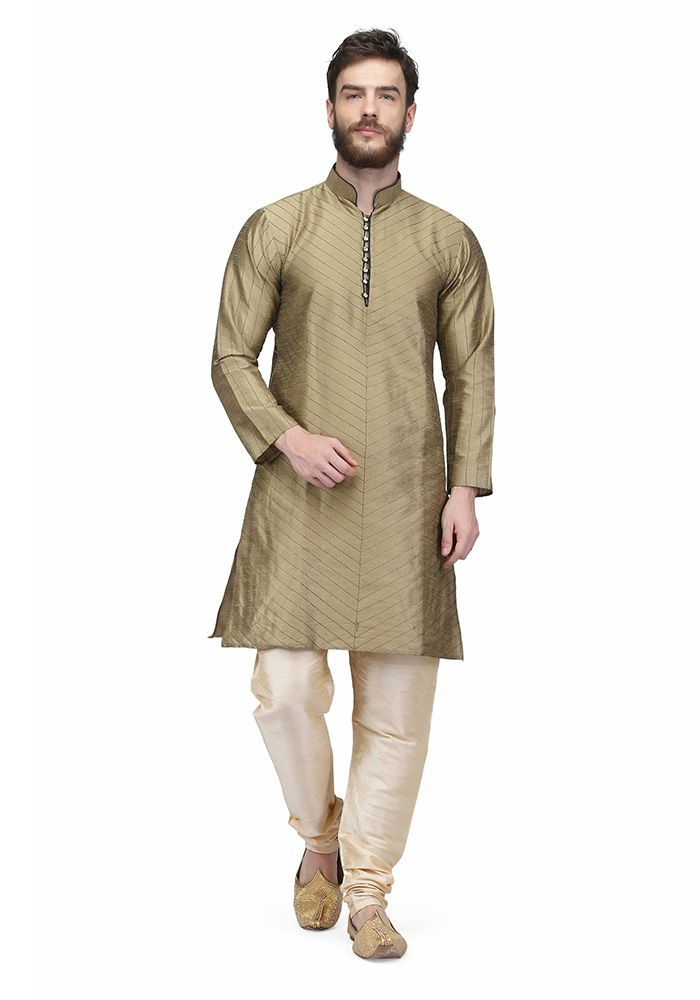Mettalic Gold Colored Raw Silk Mens Kurta Pajama By Pret A Porter