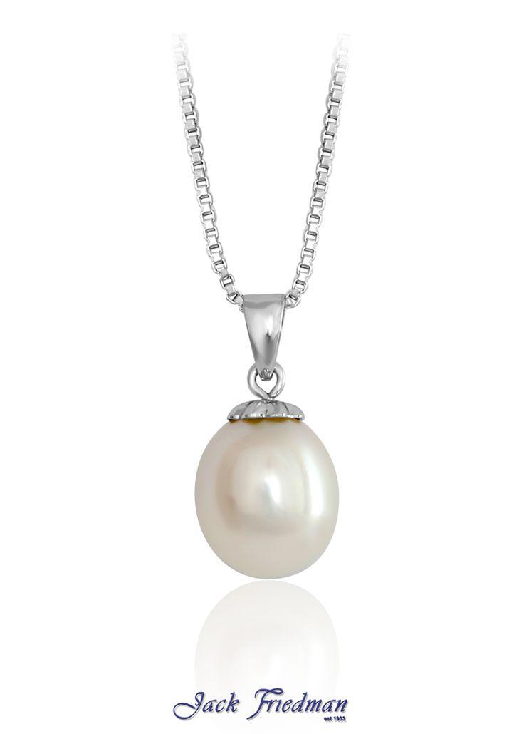 9ct white gold fresh water pearl drop pendant jackfriedman.co.za