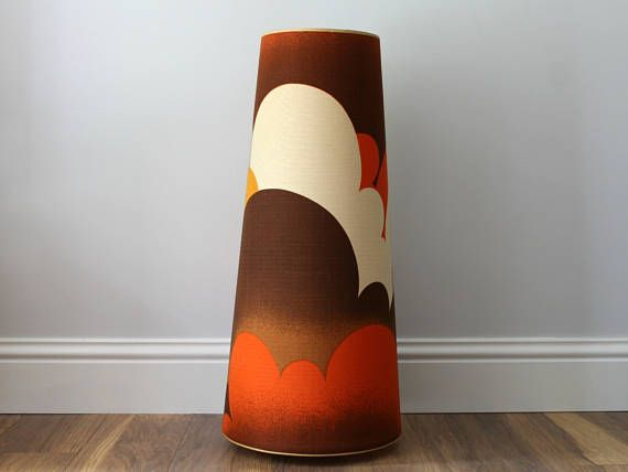 Vintage Lamp Shade, Retro Lampshade, Orange & Brown Shade, Cone Shade, Vintage Shade, Retro Lamp, 1970s