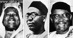 1962-Lagos, Nigeria - Parliamentary democracy has another chance in Nigeria, which gained independence from Britain 10/1/1960. The country is divided into three distinct regions, all of which gained self-government before Nigeria's independence, and have a large measure of power. Shown here (L-R) are the leaders of the three regions: Sir Ahmadu Bello, north Nigerian premier; Chief Obafemi Awolowo, western leader; and Dr. Nnamdi Azikiwe, eastern leader.