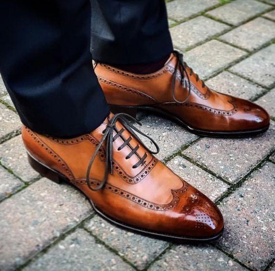 Handmade Men Tan color wingtip Brogue formal dress shoes, Men formal shoes - Dress/Formal #MensFashionFormal