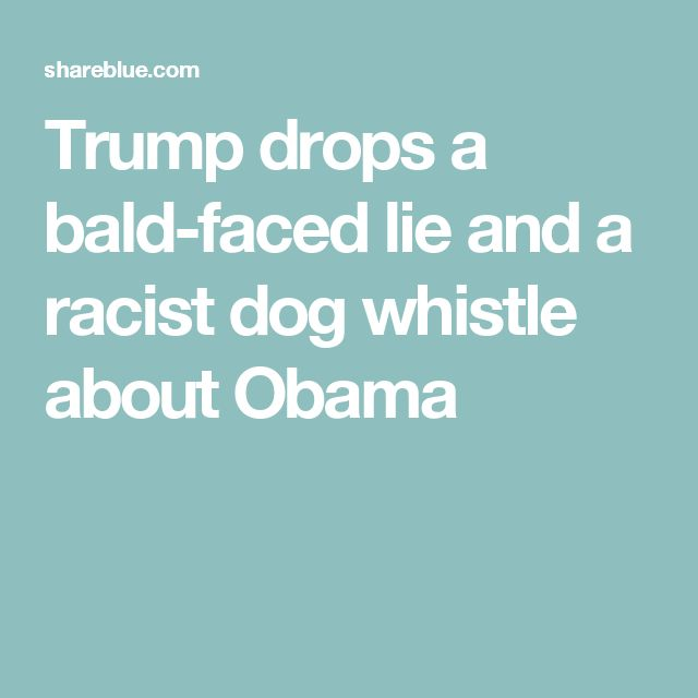Trump drops a bald-faced lie and a racist dog whistle about Obama