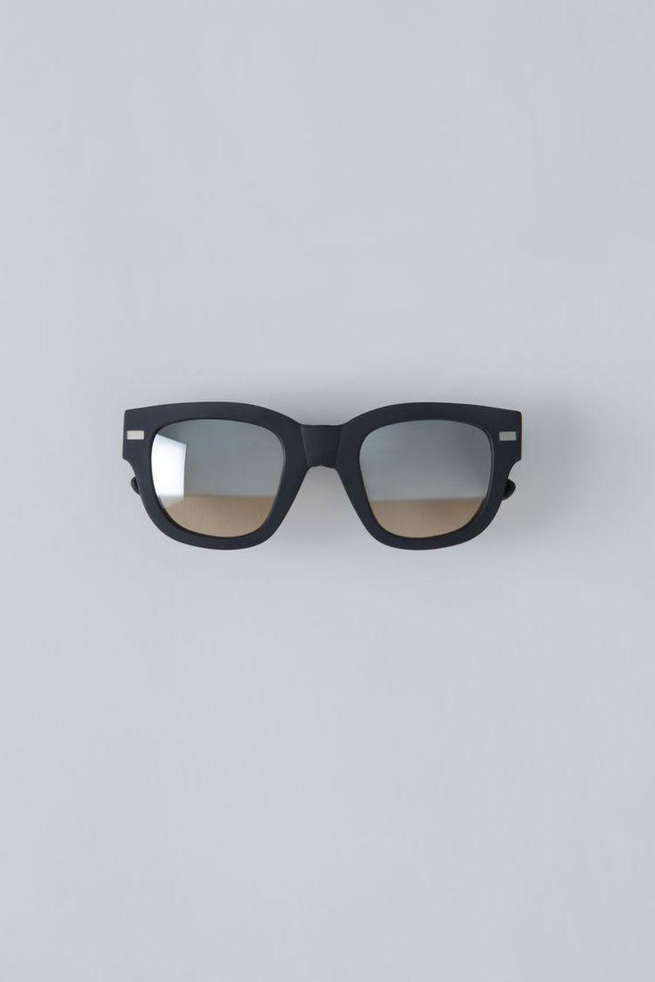 Acne Studios Frame matt black/silver half mirror are handmade square frame  eyewear.