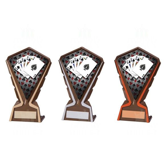 poker trophies in gold silver and bronze