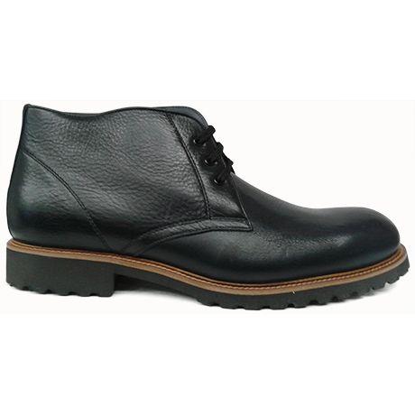 Zapato botín liso en azul marino con forro de Tex Alive y goma extraligera de Raimondo Maciotto vista lateral
