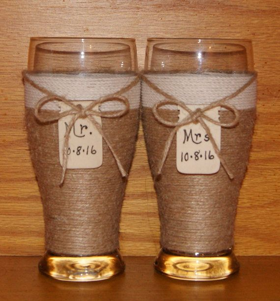 Country Wedding Glasses / Rustic Toasting by CarolesWeddingWhimsy, #etsyhandmade #bestofetsy #integrityTT @EarthRT @EtsyHMW Rustic Wedding Decoration - Rustic Wedding Toasting Beer Glasses , write Mr and Mrs and your date on these Country Wedding Glasses, Woodland Wedding Beer Glasses.  You can find them here https://www.etsy.com/listing/169040836/country-wedding-glasses-rustic-toasting