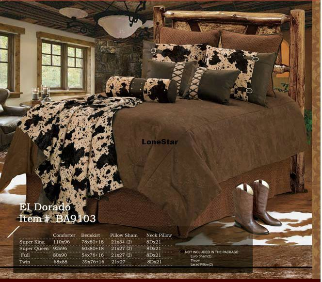 western bedroom decor | Western Rustic Lodge Bedroom Decor Brown Cowhide Fur Comforter Bedding ...