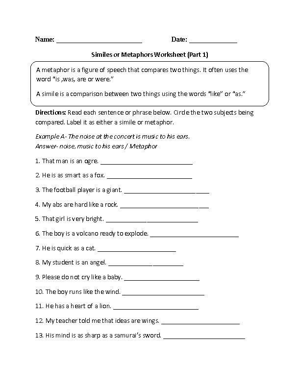 Similes and Metaphors Worksheets | Beginner, Intermediate and Advanced Similes Worksheets