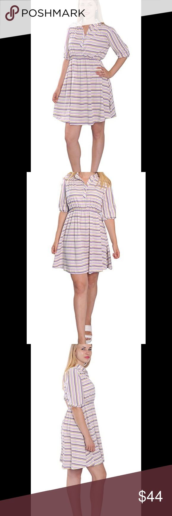 Striped short sleeve flared dress Brand new with tags. Medium weight, unstretchy, single jersey 100% cotton. Available sizes: 0, 2, 4, 6, 8, 10, 12, 14, 16, 18, 20, 22 Posh rules only, no trades, no PayPal, no low ball offers. Please and thank you. Serious buyers only. Dresses Mini