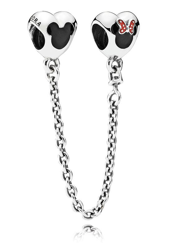 Mickey & Minnie Safety Chain - Black and red enamel Mickey and Minnie Mouse icons are pictured on a sterling silver safety chain with enamel hearts. For those who may not be familiar with a safety chain, it's a stylish and practical way to keep your charms secure on your PANDORA bracelet. To use, simply thread one end on the bracelet first, add your charms and then thread the other side of the safety chain on the end of the bracelet to secure.