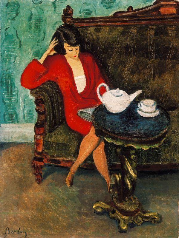 Woman in red green room (Breakfast), Berény Róbert. Hungarian Painter, Graphic Designer (1887 - 1953)