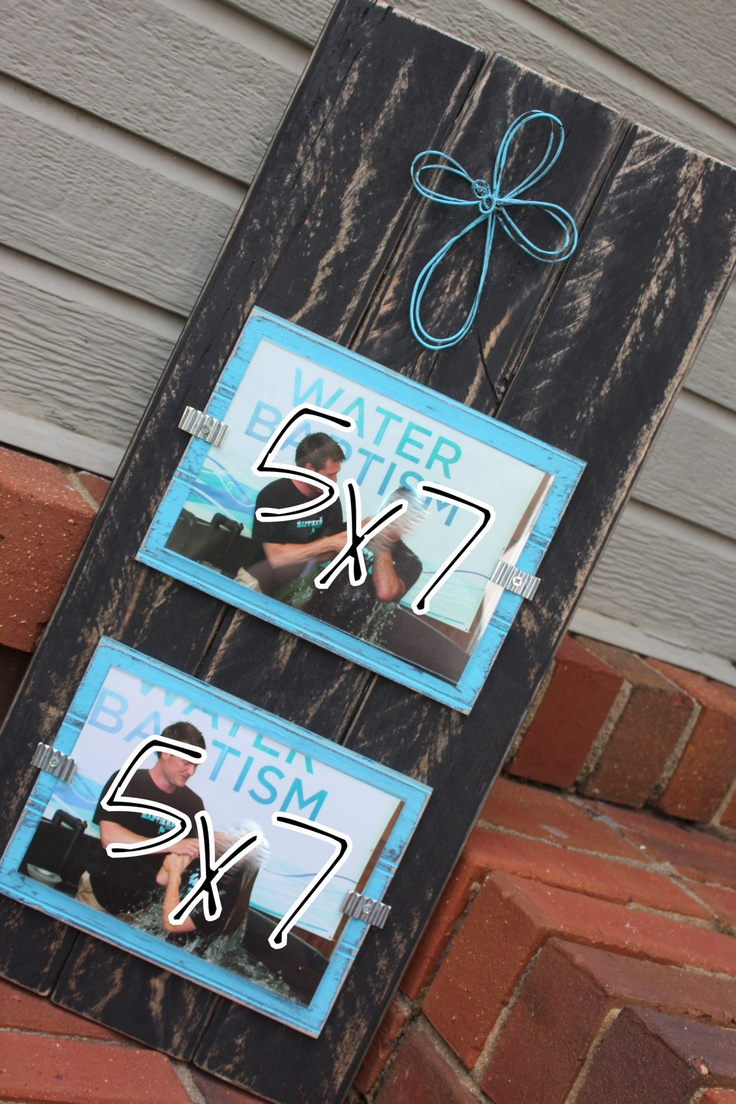 Picture Frame - Distressed Wood - Double 5x7 with Wire Cross - Black and Aqua. $32.00, via Etsy.