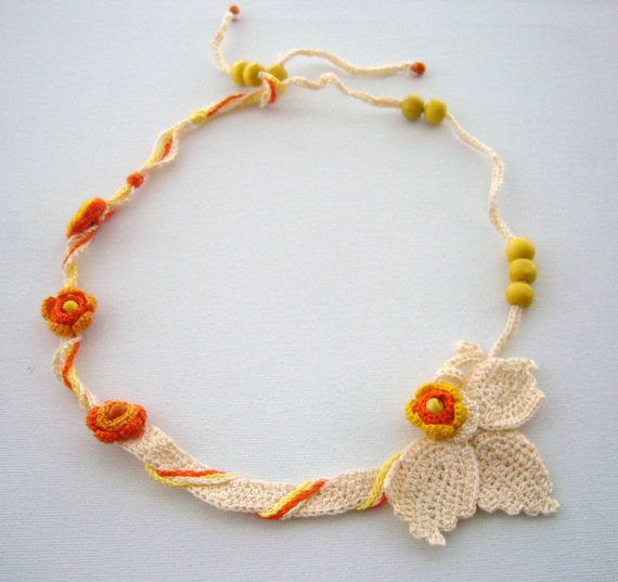 Hand Crochet  Cotton Necklace Choker Spring by CraftsbySigita, on Etsy