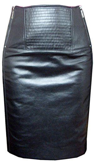 Короткая юбка из кожи
