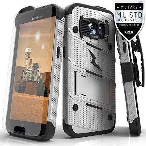 Samsung Galaxy S7 Case Zizo [Bolt Series] w/ FREE [Galaxy S7 Screen Protector] Kickstand [Military Grade Drop Tested] Holster Clip - Galaxy S7 G930
