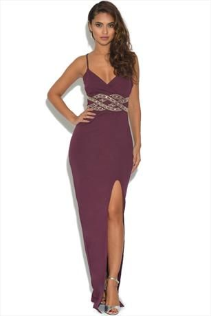 Just had to pin this TFNC Burgundy Embellished Maxi Dress from www.vestry.com/