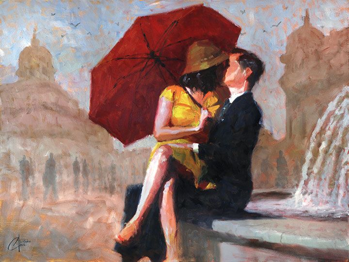 Original oil romantic couple painting by Christopher Clark, fine art - Kiss in…