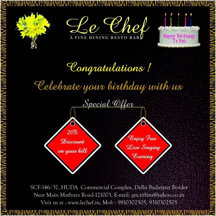 Le Chef Resto Bar Congratulations Celebrate your Birthday with us Special Offer 20% Discount on your bill Enjoy free Live Singing Le Chef is a fine dining restaurant in Faridabad offering delicious Indian Chinese Continental food. If looking for best North Indian restaurant in Faridabad #For #BestFood #Faridabad #HomeDelivery #Food #Restaurant #FoodDelivery #Delicious #Weekend #ComfortFood #Discount #BestRestaurants #FamilyRestaurants #Sale #NightDelivery #Hunger #Foodie #Offer #LoveFood…