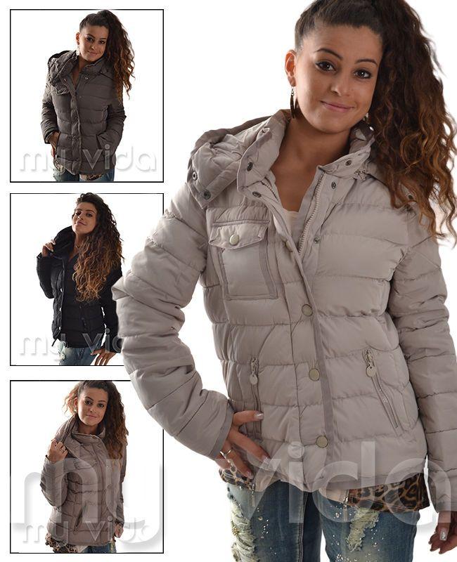 Giacchetto donna giubbino piumino giacca invernale cappuccio cinta M-giub16 | eBay