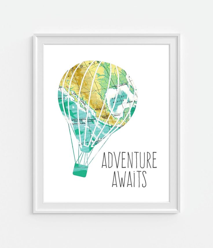 Vintage Map Hot Air Balloon Print 'Adventure Awaits' 5x7, 8X10, 11x14 Inspirational Quote Nursery Baby Print Wall Art, Home Decor Wall Art by Picturality on Etsy https://www.etsy.com/listing/205777696/vintage-map-hot-air-balloon-print