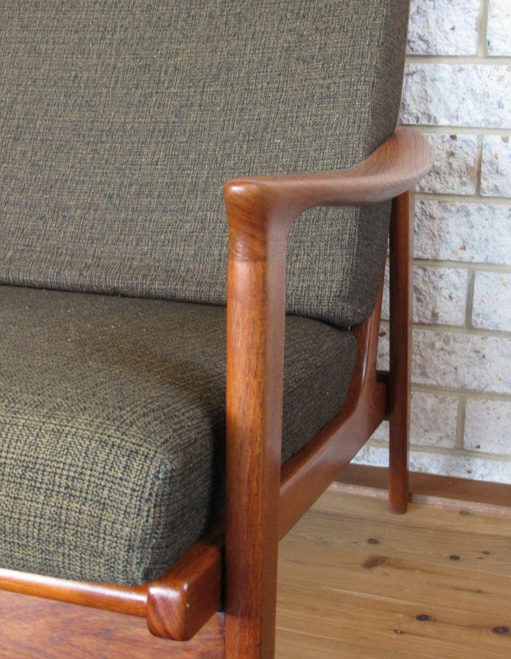 Parker Furniture. Mid Century Danish. Restored three seater lounge with original foam and fabric.