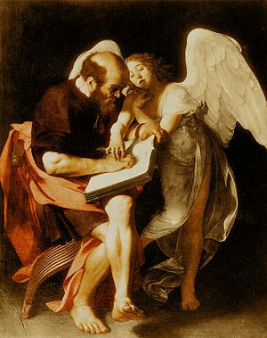 "Saint Matthew and the Angel (1602).Caravaggio.  Caravaggio, Saint Matthew, 1602 -- "" he painted a picture of St Matthew, figure 15, with a bald head and bare, dusty feet, awkwardly gripping the huge volume, anxiously wrinkling his brow under the unaccustomed strain of writing. By his side he painted a youthful angel, who seems just to have arrived from on high, and who gently guides the labourer's hand as a teacher may do to a child."""