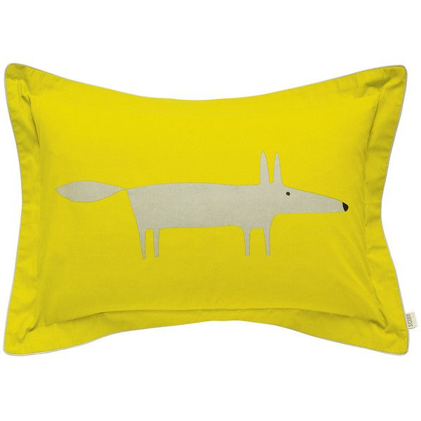 Scion Mr Fox Oxford Pillowcase found on Polyvore featuring home, bed & bath, bedding, bed sheets, yellow, yellow bedding, fox bedding, yellow pillowcases and yellow pillow cases