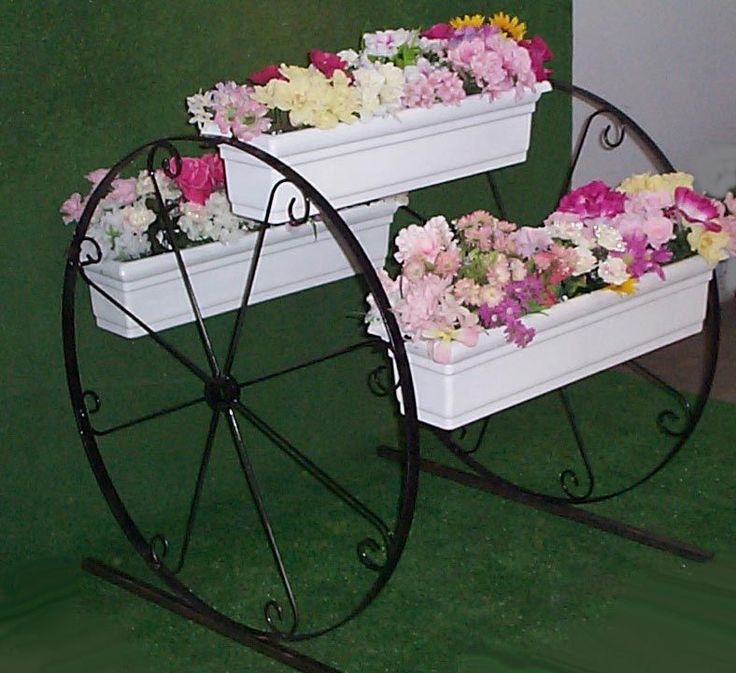 English Garden Three Tier Planter Wagon Wheel.