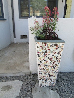 DIY mosaic planter. Great look for columns or pillars!