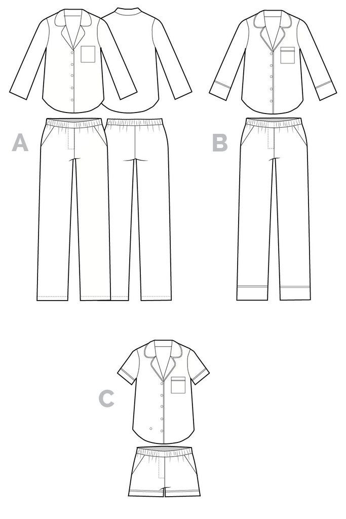 Carolyn Pajama pattern // Technical flats // Closet Case Files