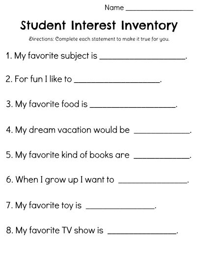 Get to know your students and build meaningful relationships! Use this Student Interest Inventory to help you understand each students' motivations and favorite things. This information could be used to help you connect with students, build trust, and to create meaningful experiences for students, based on what they like!