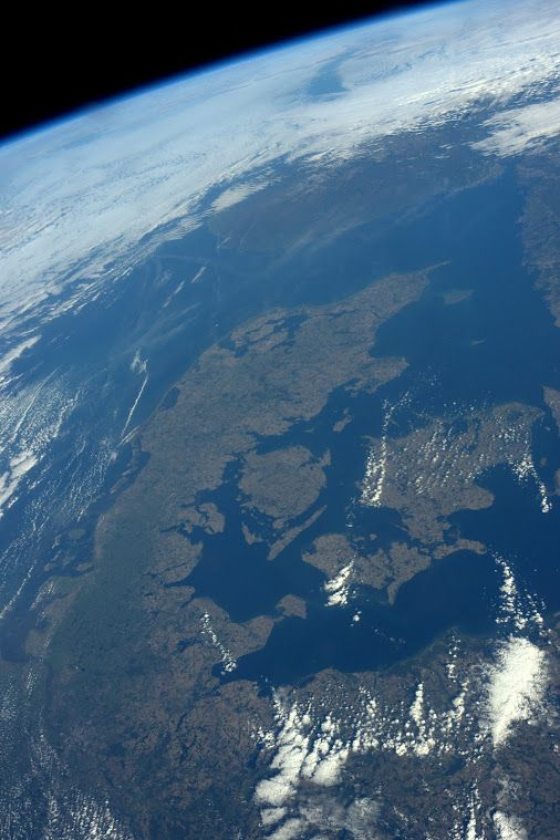 "#Denmark: View 1 | International Space Station Image posted by ESA astronaut Andreas Mogensen during his iriss mission. Andreas commented: ""Fantastic start to the day! Flew right over Denmark with no clouds!"""