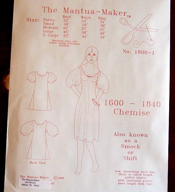 Chemise or Shift Underwear Pattern: by MantuaMakerPatterns on Etsy