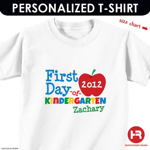 First Day of Kindergarten Shirt  by HeatherRogersDesigns on Etsy, $17.50