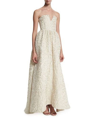 TB6MB Alice + Olivia Axmis Strapless Floral Jacquard Gown